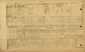Лицевая сторона анкеты Всероссийской сельскохозяйственной земельной и городской переписи 1917 г.